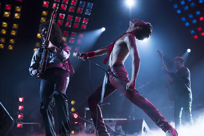 "This image shows Gwilym Lee (from left), Rami Malek and Joe Mazzello in a scene from ""Bohemian Rhapsody."" (Alex Bailey/Twentieth Century Fox via AP)"