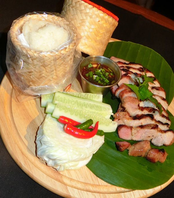 One of the Thai dishes complete with sticky rice.