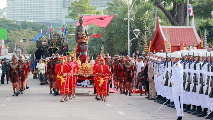 A military parade carried the great king and his troops down Beach Road on their way to city hall.