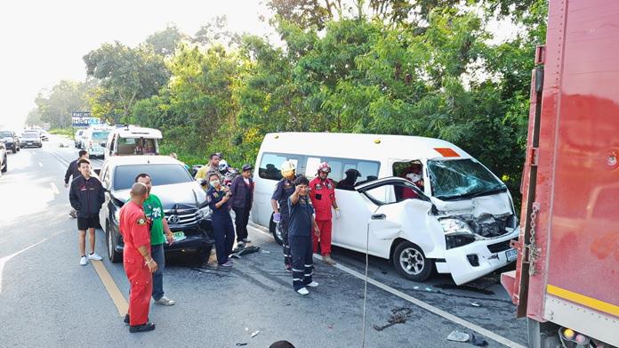 A van-full of Sattahip schoolchildren escaped injury when their school bus was sandwiched in a three-car pileup in Sattahip.