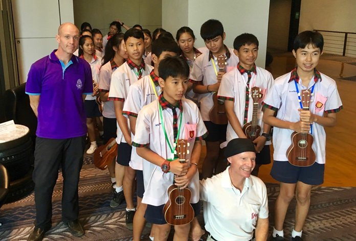 Ready to go. Bamboo School students enter the PCEC meeting room to give their wonderful ukulele concert.