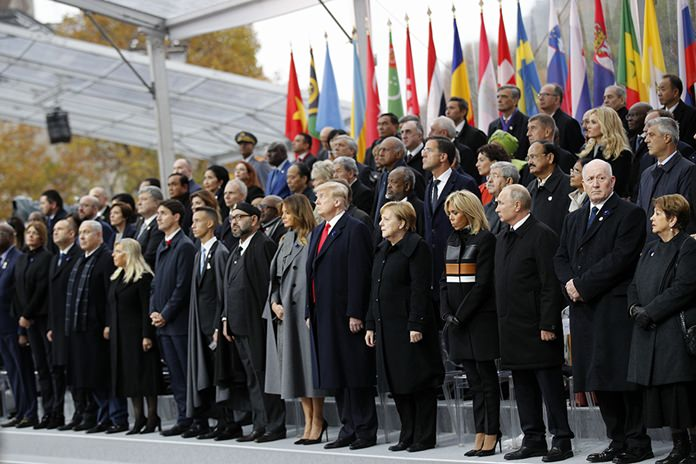 Heads of states and world leaders attend ceremonies at the Arc de Triomphe Sunday, Nov. 11, 2018 in Paris. (AP Photo/Francois Mori, Pool)