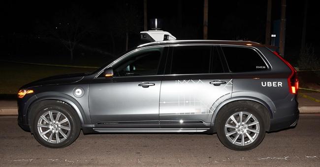 An Uber autonomous SUV.