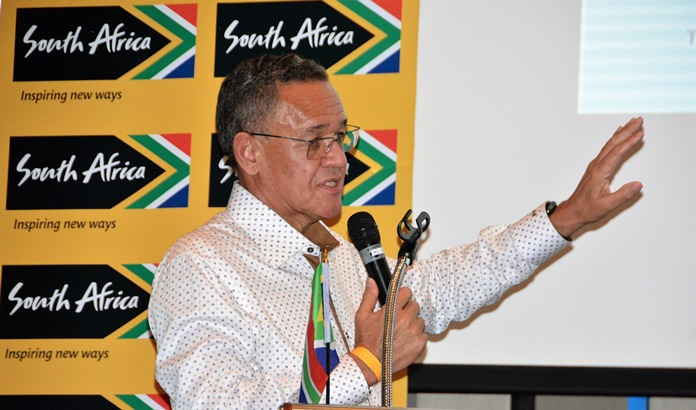 Ambassador Doidge answers one of several questions about South Africa from members of his PCEC audience.