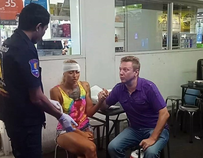 Pattaya baht bus driver Chayapat Rithbamrung (not shown) was fined 1,000 baht for reckless driving causing injury when he slammed on the brakes sending Vera Ivanova into a roof support.