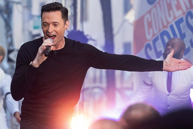 """Actor and singer Hugh Jackman performs on NBC's """"Today"""" show at Rockefeller Plaza on Tuesday, Dec. 4, 2018, in New York. (Photo by Charles Sykes/Invision/AP)"""