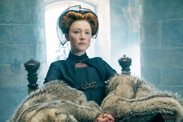 "This image released by Focus Features shows Saoirse Ronan as Mary Stuart in a scene from ""Mary Queen of Scots."" (Liam Daniel/Focus Features via AP)"