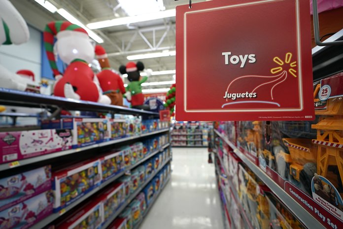 Toys sit on the shelves at a Walmart Supercenter in Houston. Pediatricians say the best toys for young children are simple, old-fashioned toys like blocks and puzzles rather than costly electronic games or the latest high-tech gadgets. (AP Photo/David J. Phillip, File)