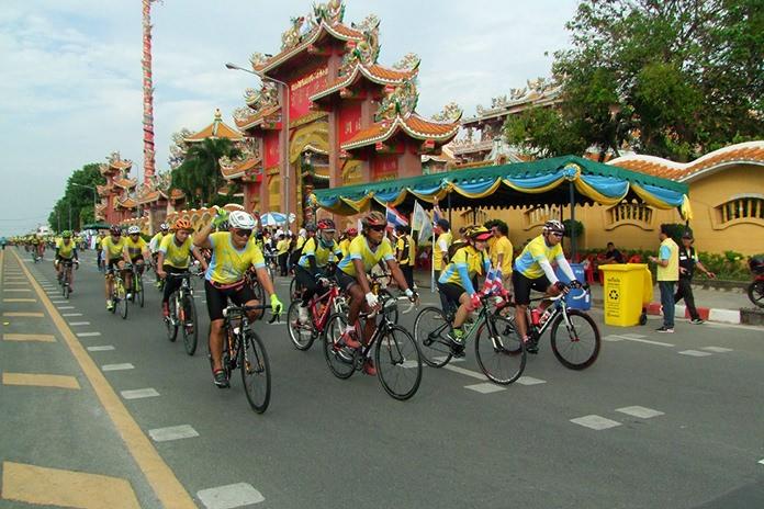 Chonburi's cyclists rode past iconic landmarks along the way.