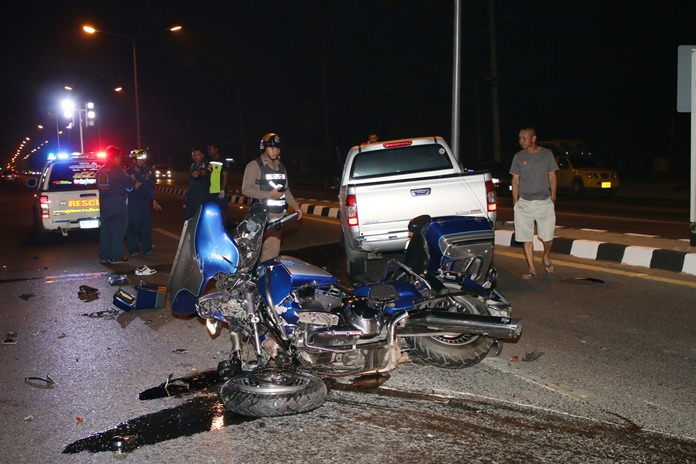 A navy petty officer died after he crashed his Harley-Davidson into the side of a pickup truck.