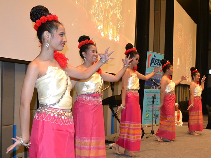 These five charming young ladies in costume began the program by performing a traditional Thai dance for their PCEC audience