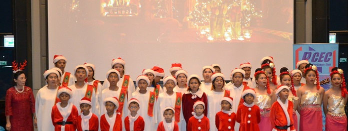 The little angels from the Pattaya Orphanage Choir were warmly welcomed by all as they performed during the PCEC's annual Christmas program.
