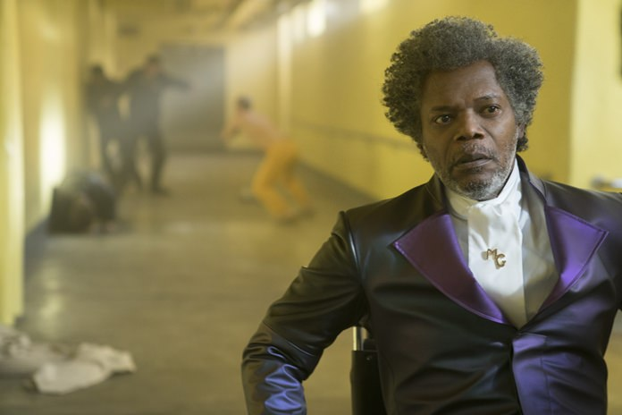"This image shows Samuel L. Jackson in a scene from M. Night Shyamalan's ""Glass."" (Jessica Kourkounis/Universal Pictures via AP)"
