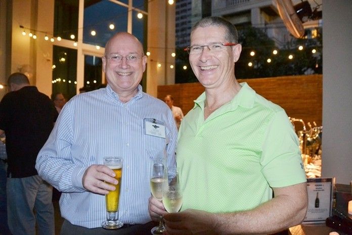 Macallan Insurance Broker's Graham Macdonald with Andrew Reay from Amazon Colours.