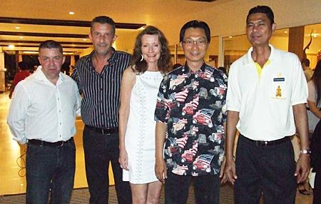(L to R) Paul Strachan; Cees Cuijpers, managing director of Town & Country Property; Deborah Bundityanond and Paisan Bundityanond from Rabbit Resort; and Sanich Benjamart from Thai Garden Resort.