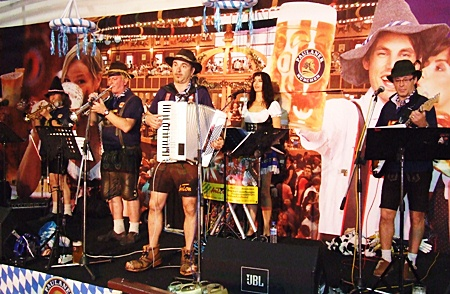 """The Bavarian show band """"Anton"""" entertains a packed house."""