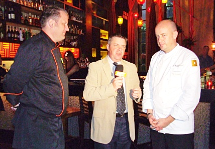 Paul Strachan (center) interviews Michelin star chef, Thomas Kammeier (right) and Mantra's executive chef, Jens Heier (left) for Pattaya Mail TV.