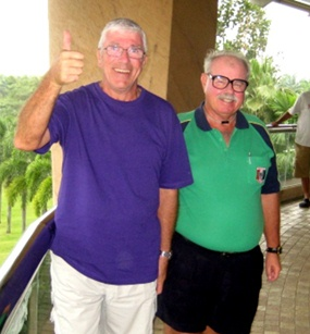 Hole in One hero Jean Claude Coulon, left, celebrates with The Admiral.