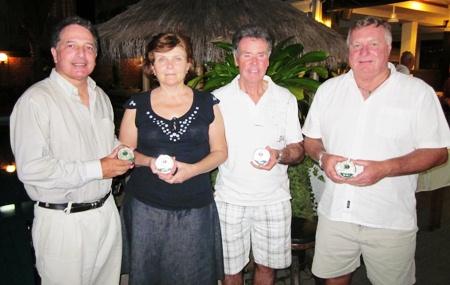 Monthly winners (Left-right): Steve Mascari (Div 1), Valentina Hiller (Ladies), Frank Hughes (Div 2) and Don Everett (Div 3).