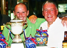 PGS Champions Paul McNally (Gross) and Richard Bannister (Net) savour the moment.