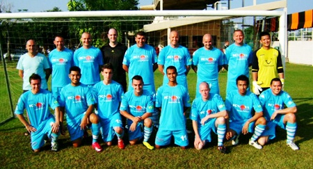 FC Nova line up prior to their match against Golden Boys in Bangkok last weekend.