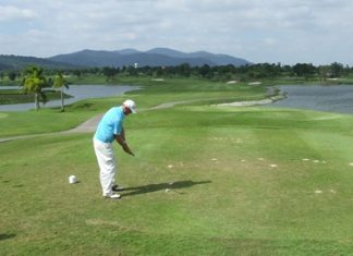 Teeing-off at the intimidating B1 at Pattana Golf Resort.