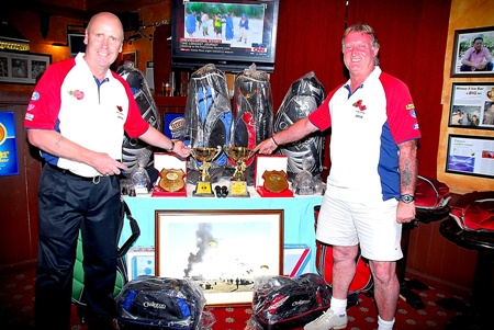 The trophy sponsors display the main prize table.