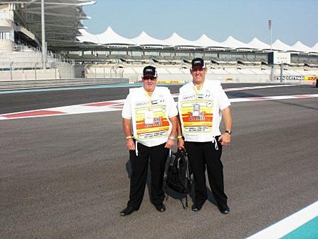 Patrick Weir and Terry Wilson, scrutineers in Abu Dhabi.