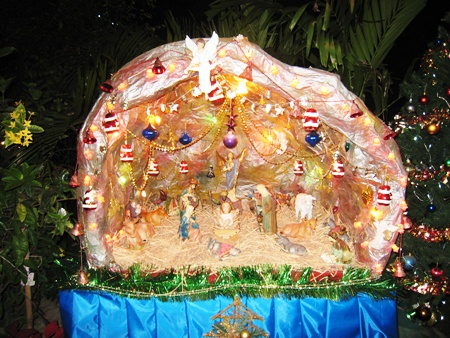 The exquisite hand crafted stable depicting the story of the birth of Jesus.