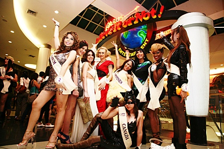 Miss International Queen 2010 contestants pose for photos at Ripley's Believe It or Not!, Pattaya.