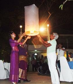 Releasing khomloys at the Diana Garden Resort.