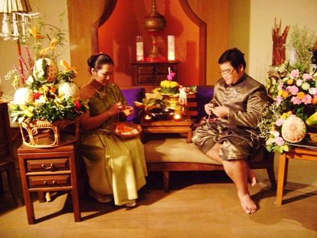 The art of traditional krathong making on display at the Sheraton Pattaya Resort.