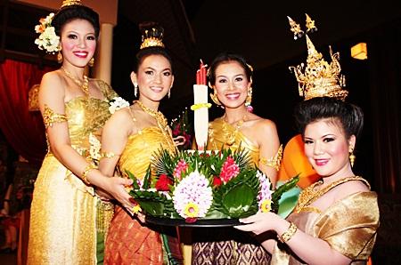 Beautiful Noppamas contestants display their krathong at Centara Grand Mirage Beach Resort.