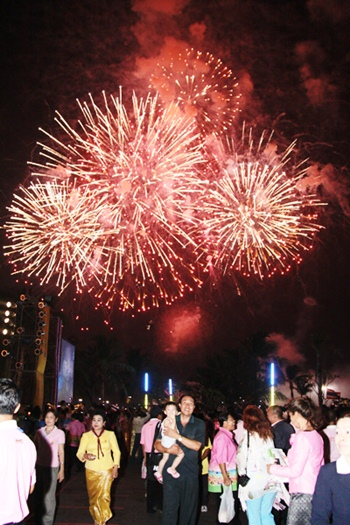 Fireworks light up the night sky with a dazzling display above Pattaya Bay.