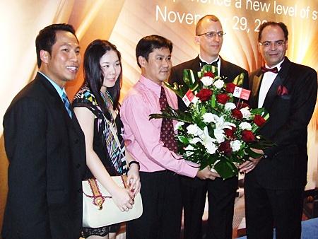 Dhaninrat Klinhom, marketing communications manager, Hilton Pattaya; Piyanveh Sangsilawutigul and  Damrong Santiprapob, Virgin BEC-Tero Radio (Thailand); Harald Feurstein and Thomas Hoeborn.