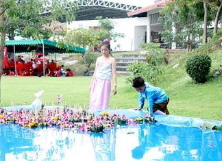 Krathongs are floated in specially constructed pools.