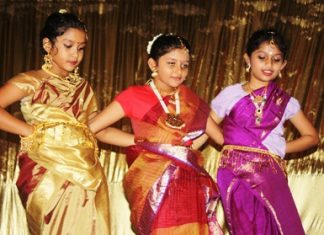 Primary students Hemakshi Prabhu, Shilpi Dhar and Sonal Rao show movements on Indian classical dance.