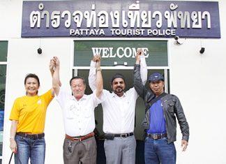 The candidates for president of the Pattaya Tourist Police Volunteers (L to R) Nittaya Patimasongkroh, Roj Tangsimsamansak, winner Sukarat Kalra and Phurawi Rotphanmanee.