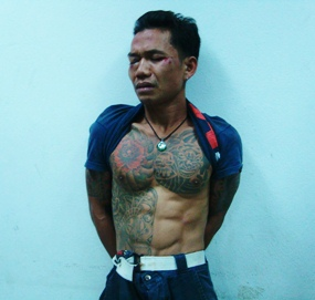 Convict Wirat Phimbut was caught and arrested after stabbing a Russian woman in Naklua.