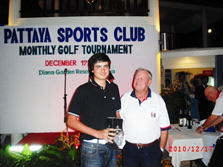 Low Gross winner, Patrick Kelly, left, with Golf Chairman Joe Mooneyham.