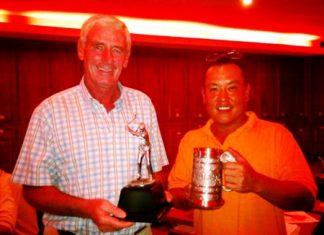 Sunday's low gross winner Seamus Cotter, left, and medal winner John Bahng.