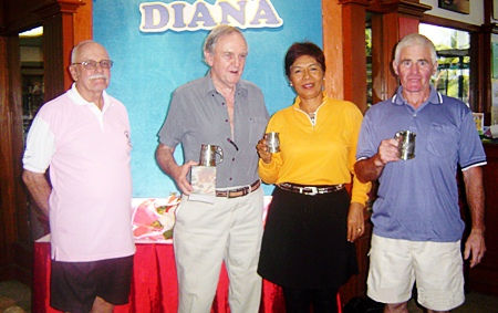 """December winners John Conolly, Tom Breslin and Chant """"Moon"""" Schwulera with the tournament organizer, Nigel Cannon, left."""