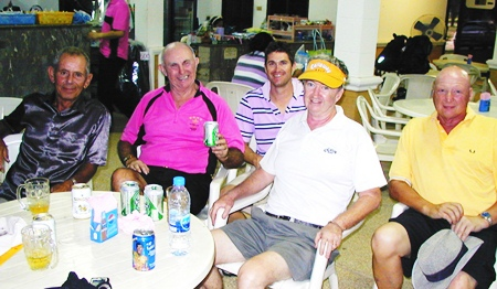 Some of the TRGG players relax after their 6-hour round at Century Chonburi.