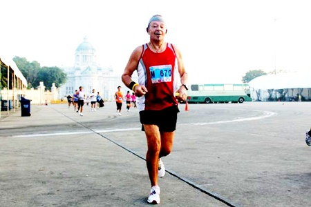 Pierre Bietry in action at this year's Bangkok Marathon.