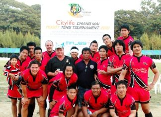 The Cup losing finalists Chiang Mai Tigers are still all smiles after the game.