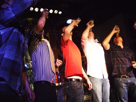 The race is on!  Who will win the beer drinking contest at the Hard Rock Hotel?