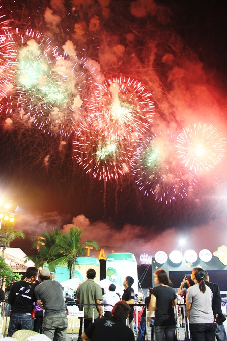 Fireworks light up the night sky from North to South Pattaya.