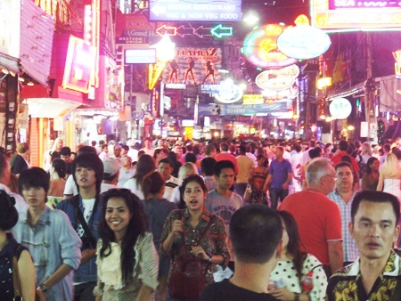 Walking Street is always packed with tourists throughout the festival.