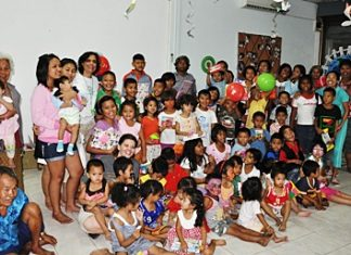 All the children and helpers at the Hand to Hand centre in Pattaya.