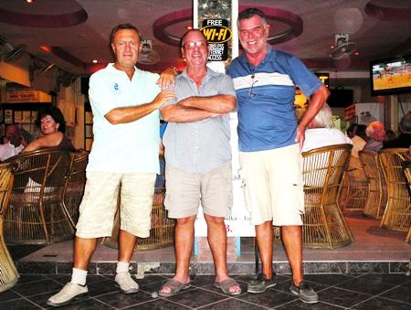 Division 2 winners at Bangpakong, Howard Stanley, Billy Hewitt and Dennis Scougal.